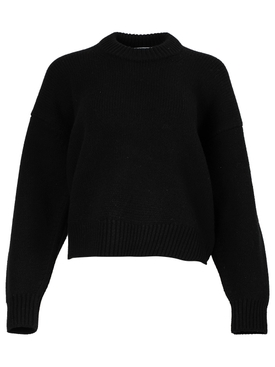 draped back merino wool pullover Black