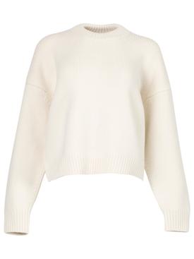 draped back merino wool pullover Ivory