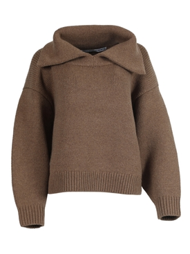 Brown split collar jumper sweater