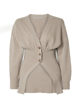 Oversized mocked v-neck cardigan LIGHT OATMEAL