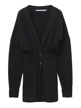 Oversized mocked v-neck cardigan BLACK