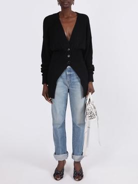 Oversized mocked v-neck cardigan BLACK