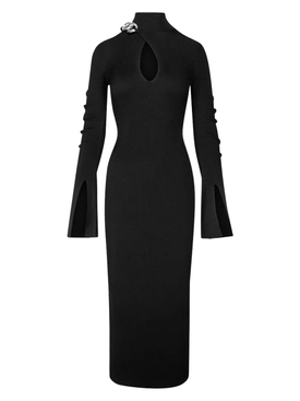 Chain Trim Turtleneck Dress