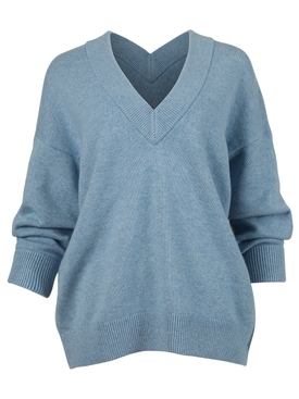 Oversized pullover knit sweater OXFORD BLUE
