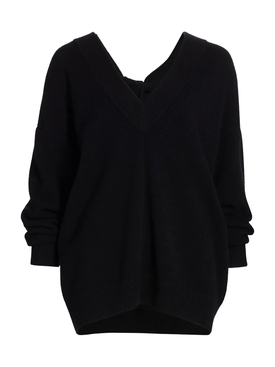Oversized pullover knit sweater BLACK