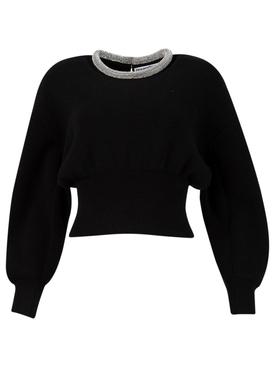 crystal embellished neckline pullover sweater Black