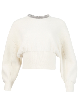 crystal embellished neckline pullover sweater Ivory