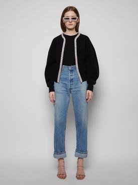 wool crop crystal placket cardigan Black