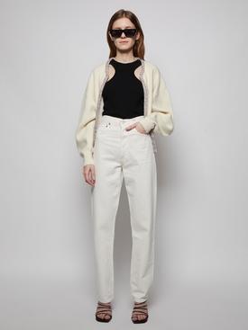 wool crop crystal placket cardigan Ivory