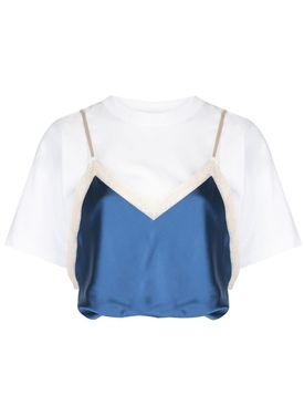 Draped satin camisole t-shirt top
