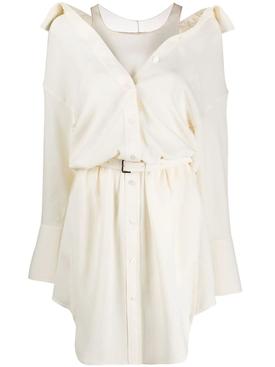 Off-the-shoulder shirt dress IVORY
