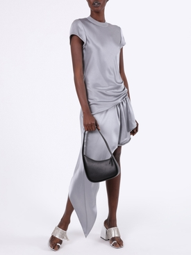 ASYMMETRIC CAP SLEEVE DRESS GUNMETAL