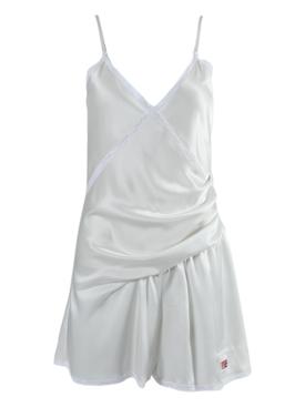 White satin lingerie romper