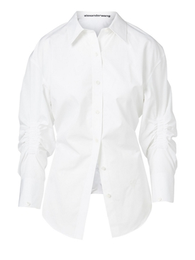 White oversized cinched waist shirt