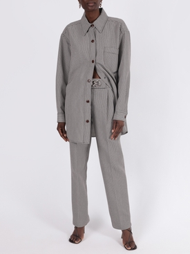 Houndstooth pleated wool trousers