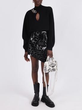 Asymmetric croc-embossed leather mini skirt