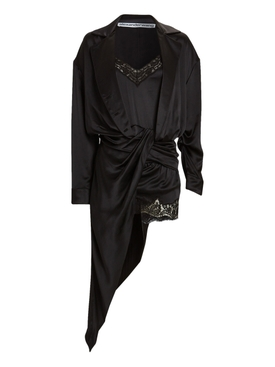 BLACK SILK AND LACE DRAPED PJ SLIP DRESS