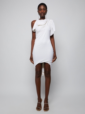 Draped mini dress, ivory