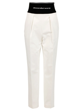Straight leg trouser with logo elastic and exposed zip SNOW WHITE