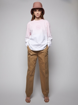 Straight leg trouser with logo elastic and exposed zip CHINO BEIGE