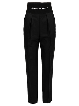 Straight leg trouser with logo elastic and exposed zip BLACK