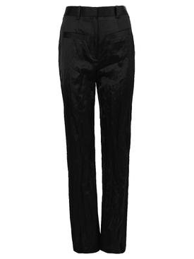 High-waisted Satin Pants, Black