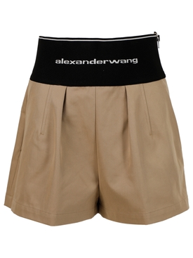 SAFARI SHORT WITH EXPOSED ZIPPER AND LOGO ELASTIC CHINO BEIGE