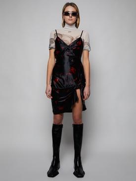 ROSE PRINT CAMI SLIP DRESS, BLACK AND RED