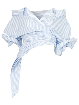 OXFORD STRIPE DECONSTRUCTED TOP BLUE
