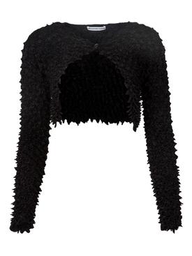 Shibori Satin Cardigan Black