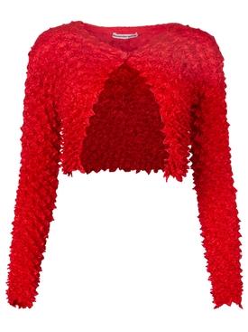 Shibori Satin Cardigan Bright Red