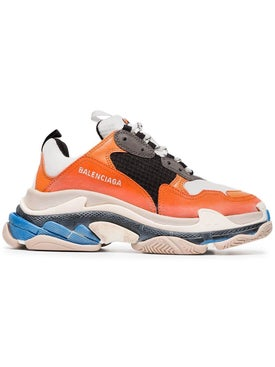 Balenciaga - Orange And Blue Triple S Sneakers - Women