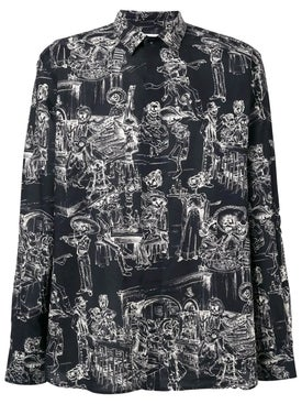 Saint Laurent - Skeleton Party Print Shirt Black - Men