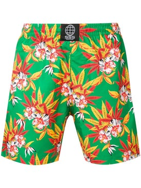 Sss World Corp - Hawaiian Floral Print Swim Shorts - Men