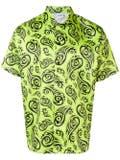 Sss World Corp - Lime Tribal Print Short Sleeve Shirt - Men