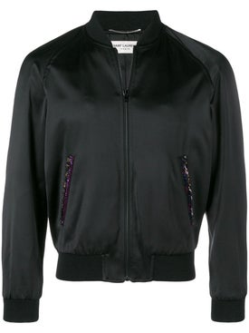 Saint Laurent - Bead Embroidered Logo Varsity Jacket - Men