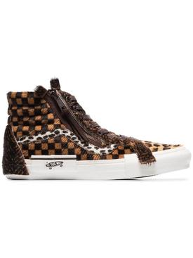 Sk8-Hi Animal print checked sneakers BROWN