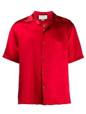 Gucci - Embroidered Bowling Shirt Red - Men