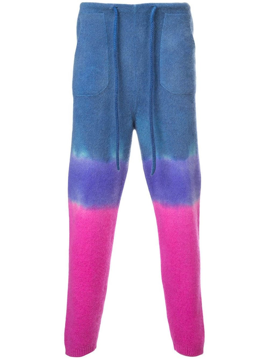 The Elder Statesman Knits knitted tie-dye track trousers
