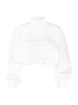 CROPPED MOCKNECK SWEATSHIRT, White