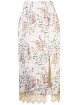 Fringed floral brocade skirt