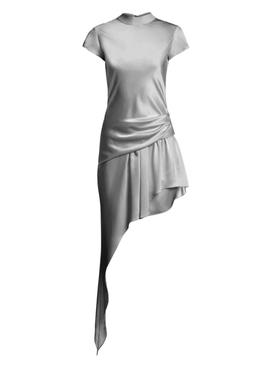 ASYMMETRIC CAP SLEEVE DRESS GUNMETAL