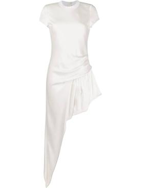 ASYMMETRIC CAP SLEEVE DRESS WHITE