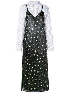 contrast panel shirt dress