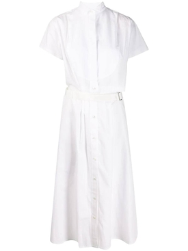 White cutaway shirt dress