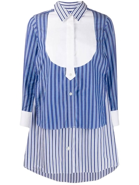 Striped layered shirt dress
