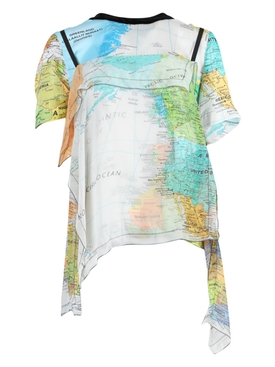 Sacai - Multicolored World Map Print Blouse - Women