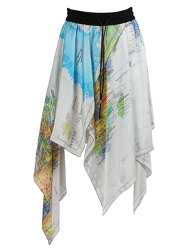 Multicolored World Map Asymmetric Skirt