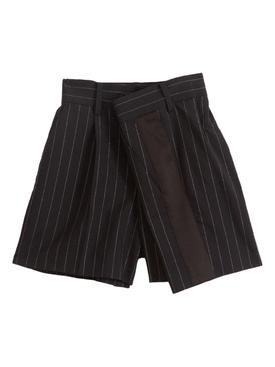 Navy High-Waisted Pinstripe Shorts