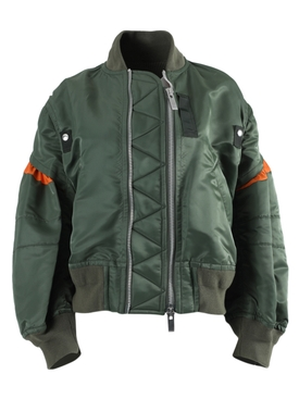 Olive Green and Orange Bomber Jacket